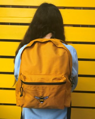 tommy & lottie 100% recycled polyester bee back pack - mustard