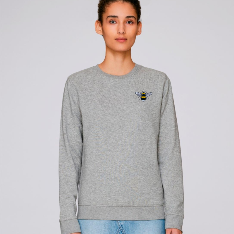 tommy & lottie organic cotton save the bees sweatshirt - adults- grey marl