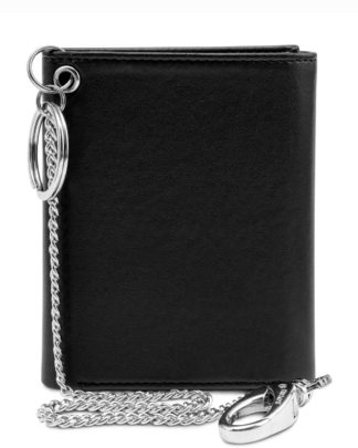 Watson & Wolfe Trifold Chain Wallet in Black   Ethical State