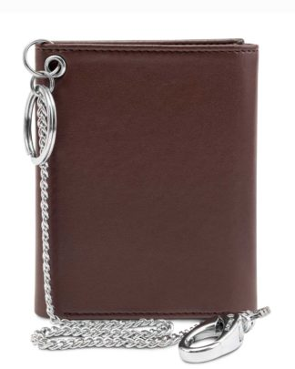 Watson & Wolfe Trifold Chain Wallet in Chestnut   Ethical State