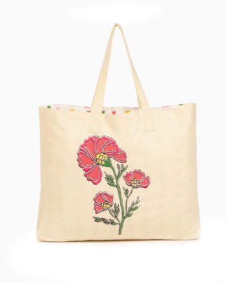 zahra recycled cotton beach tote bag
