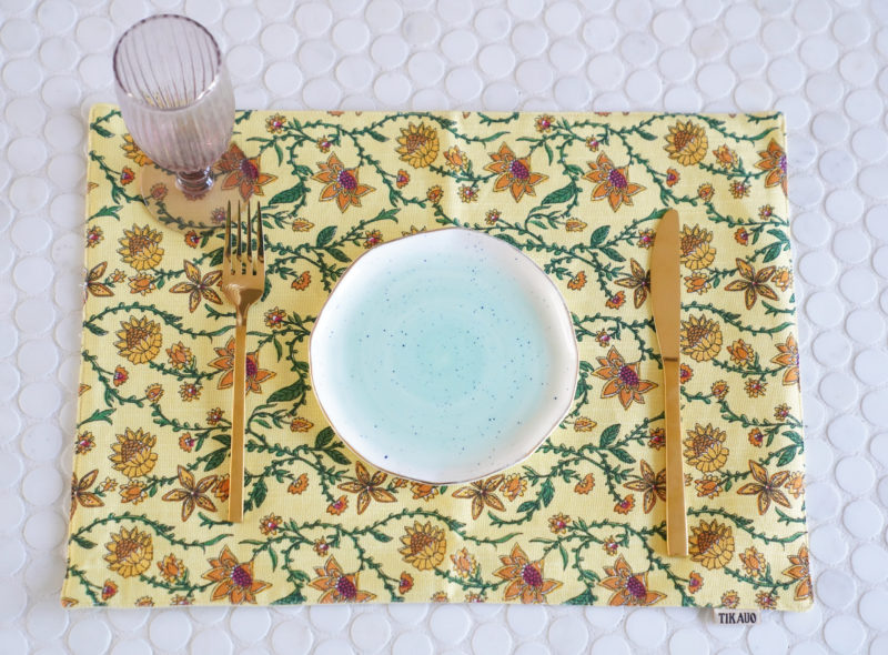 Bahar Floral Yellow Placemats - Set of 2